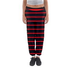Red And Black Horizontal Lines And Stripes Seamless Tileable Women s Jogger Sweatpants