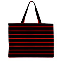 Red And Black Horizontal Lines And Stripes Seamless Tileable Zipper Mini Tote Bag