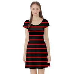 Red And Black Horizontal Lines And Stripes Seamless Tileable Short Sleeve Skater Dress