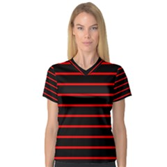 Red And Black Horizontal Lines And Stripes Seamless Tileable Women s V Neck Sport Mesh Tee