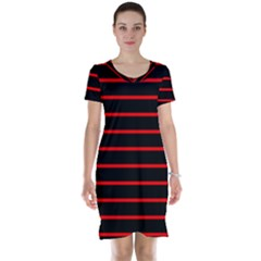 Red And Black Horizontal Lines And Stripes Seamless Tileable Short Sleeve Nightdress