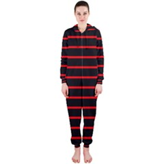 Red And Black Horizontal Lines And Stripes Seamless Tileable Hooded Jumpsuit (ladies)