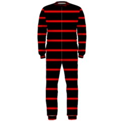 Red And Black Horizontal Lines And Stripes Seamless Tileable Onepiece Jumpsuit (men)
