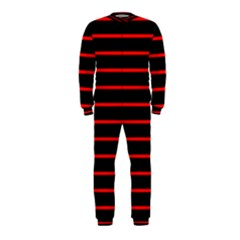 Red And Black Horizontal Lines And Stripes Seamless Tileable Onepiece Jumpsuit (kids)