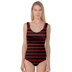 Red And Black Horizontal Lines And Stripes Seamless Tileable Princess Tank Leotard