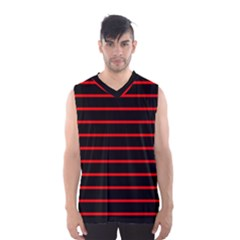Red And Black Horizontal Lines And Stripes Seamless Tileable Men s Basketball Tank Top
