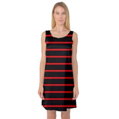 Red And Black Horizontal Lines And Stripes Seamless Tileable Sleeveless Satin Nightdress