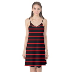 Red And Black Horizontal Lines And Stripes Seamless Tileable Camis Nightgown