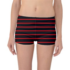 Red And Black Horizontal Lines And Stripes Seamless Tileable Reversible Bikini Bottoms