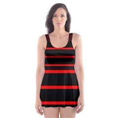 Red And Black Horizontal Lines And Stripes Seamless Tileable Skater Dress Swimsuit