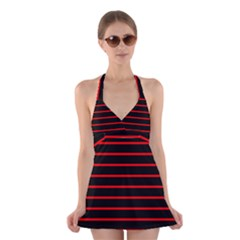 Red And Black Horizontal Lines And Stripes Seamless Tileable Halter Swimsuit Dress