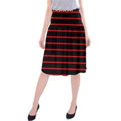 Red And Black Horizontal Lines And Stripes Seamless Tileable Midi Beach Skirt