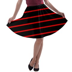 Red And Black Horizontal Lines And Stripes Seamless Tileable A Line Skater Skirt