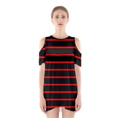 Red And Black Horizontal Lines And Stripes Seamless Tileable Shoulder Cutout One Piece
