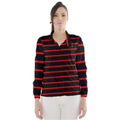 Red And Black Horizontal Lines And Stripes Seamless Tileable Wind Breaker (women)