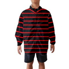 Red And Black Horizontal Lines And Stripes Seamless Tileable Wind Breaker (kids)