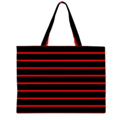 Red And Black Horizontal Lines And Stripes Seamless Tileable Large Tote Bag