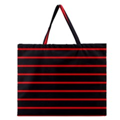 Red And Black Horizontal Lines And Stripes Seamless Tileable Zipper Large Tote Bag