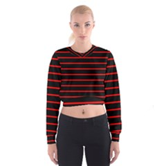 Red And Black Horizontal Lines And Stripes Seamless Tileable Women s Cropped Sweatshirt