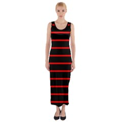 Red And Black Horizontal Lines And Stripes Seamless Tileable Fitted Maxi Dress