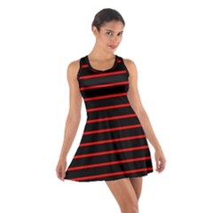 Red And Black Horizontal Lines And Stripes Seamless Tileable Cotton Racerback Dress