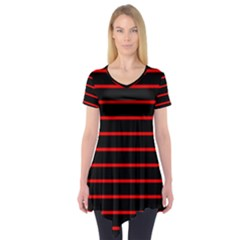 Red And Black Horizontal Lines And Stripes Seamless Tileable Short Sleeve Tunic