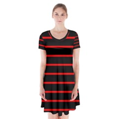 Red And Black Horizontal Lines And Stripes Seamless Tileable Short Sleeve V-neck Flare Dress
