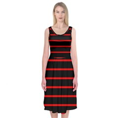 Red And Black Horizontal Lines And Stripes Seamless Tileable Midi Sleeveless Dress