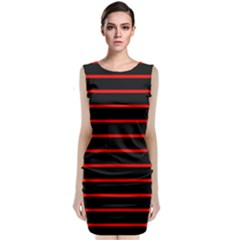 Red And Black Horizontal Lines And Stripes Seamless Tileable Classic Sleeveless Midi Dress