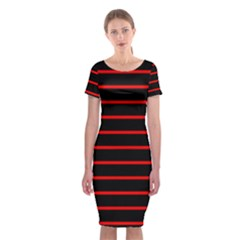 Red And Black Horizontal Lines And Stripes Seamless Tileable Classic Short Sleeve Midi Dress