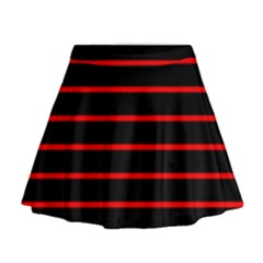 Red And Black Horizontal Lines And Stripes Seamless Tileable Mini Flare Skirt