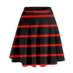 Red And Black Horizontal Lines And Stripes Seamless Tileable High Waist Skirt