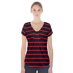 Red And Black Horizontal Lines And Stripes Seamless Tileable Short Sleeve Front Detail Top