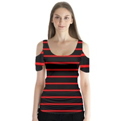 Red And Black Horizontal Lines And Stripes Seamless Tileable Butterfly Sleeve Cutout Tee