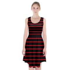 Red And Black Horizontal Lines And Stripes Seamless Tileable Racerback Midi Dress
