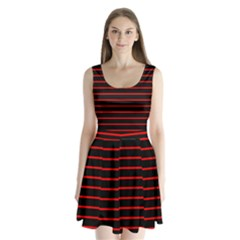 Red And Black Horizontal Lines And Stripes Seamless Tileable Split Back Mini Dress