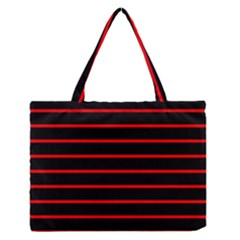 Red And Black Horizontal Lines And Stripes Seamless Tileable Medium Zipper Tote Bag