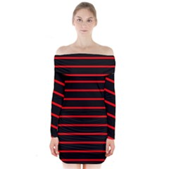 Red And Black Horizontal Lines And Stripes Seamless Tileable Long Sleeve Off Shoulder Dress