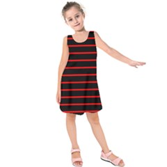 Red And Black Horizontal Lines And Stripes Seamless Tileable Kids  Sleeveless Dress