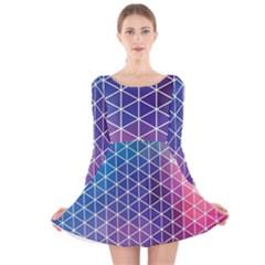 Neon Templates And Backgrounds Long Sleeve Velvet Skater Dress