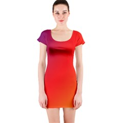 Rainbow Background Short Sleeve Bodycon Dress