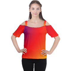 Rainbow Background Women s Cutout Shoulder Tee