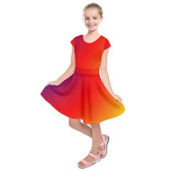 Rainbow Background Kids  Short Sleeve Dress