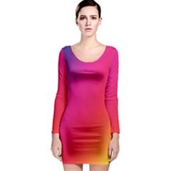 Rainbow Colors Long Sleeve Bodycon Dress
