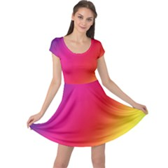 Rainbow Colors Cap Sleeve Dresses