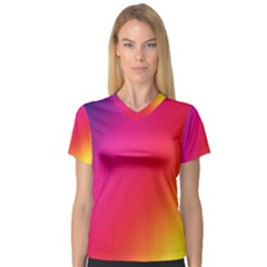Rainbow Colors Women s V Neck Sport Mesh Tee