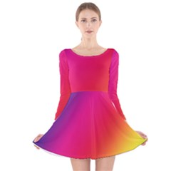 Rainbow Colors Long Sleeve Velvet Skater Dress
