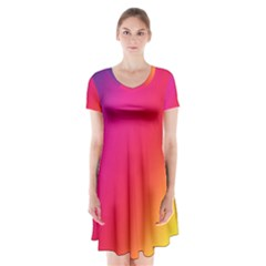 Rainbow Colors Short Sleeve V Neck Flare Dress