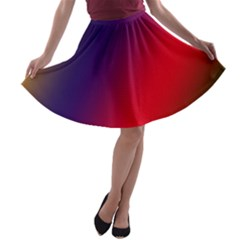 Rainbow Two Background A Line Skater Skirt