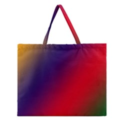 Rainbow Two Background Zipper Large Tote Bag